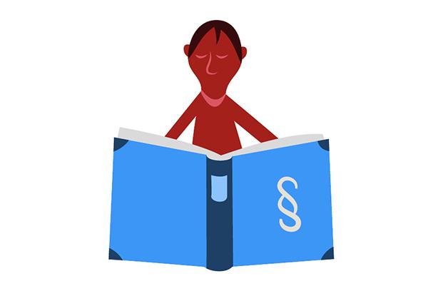 Bild som föreställer en person som läser i en stor bok med en paragraf på framsidan